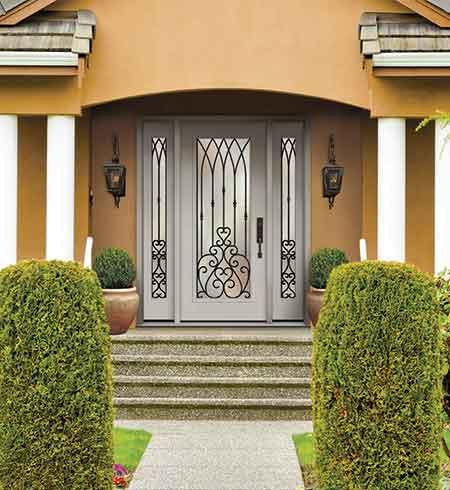 wrought iron glass door